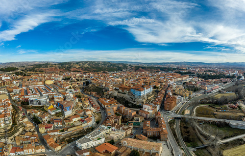 Aerial panoramic view of Teruel Spain with medieval city walls, viaduct, aquaduc Wallpaper Mural
