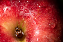 Red And Juicy Apple With Water Drops Macro Abstract Background