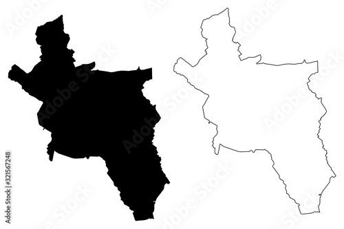 Aachen City (Federal Republic of Germany, North Rhine-Westphalia) map vector ill Canvas Print