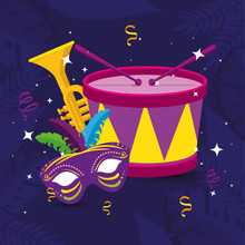 Mardi Gras Mask Trumpet And Dr...