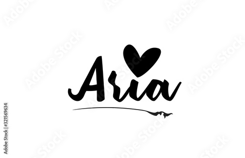 Photo Aria name text word with love heart hand written for logo typography design temp