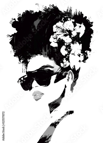 Plakaty czarno białe  woman-with-sunglasses-and-hat-fashion-illustration-black-and-white-fashion-sketch-abstract