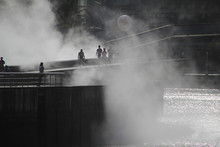 People Walking In The Downtown Of Bilbao