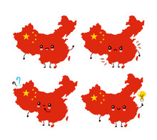 Cute Funny Happy China Map And...