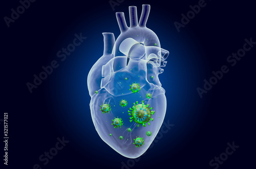 Photo Heart with virus, ghost light effect, x-ray hologram