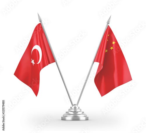 China and Turkey table flags isolated on white 3D rendering Canvas Print