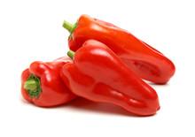 Fresh Red Pepper On White Back...