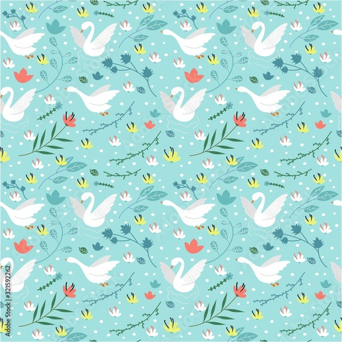 seamless pattern with goose Wallpaper Mural