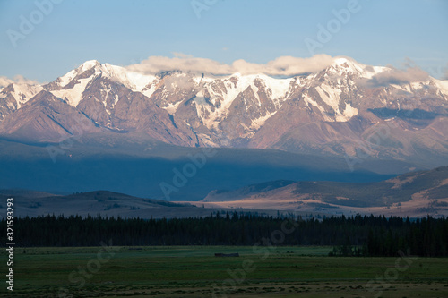 altai snow mountain and steppe forest Canvas Print