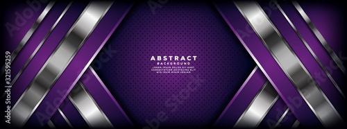 Obraz Luxurious purple and silver overlap layer background - fototapety do salonu