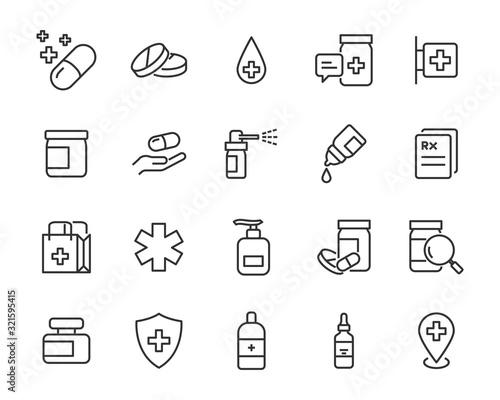Leinwand Poster set of medicine icons, pills, capsule, drug store, pharmacy