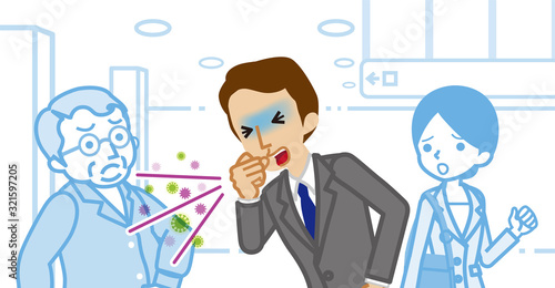 Coughing businessman and annoyed people - spread virus concept art Wallpaper Mural
