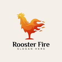 Rooster Fire Food Logo, Chicken Hot Food Logo Design Vector Template