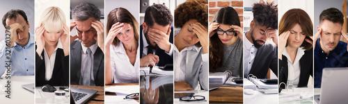 Fototapeta Stressed People At Work Collage obraz