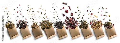 Large assortment of tea on a white background Canvas Print