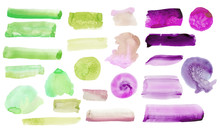 .Set Of Purple, Green Watercolor Spots,  Isolated On White Background.