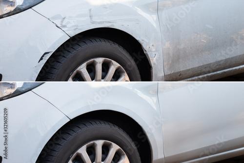 Fotografie, Obraz Car Dent Repair Before And After