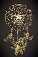 Dream Catcher With Sri Yantra Or Sri Chakra Inside. Form Of Mystical Diagram, Shri Vidya School Of Hindu Tantra Symbol. Sacred Geometry Vector Design Element. Vector Illustration.