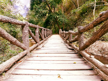 Closeup Wooden Bridge In A Nat...