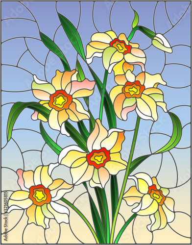 Naklejki witrażowe  illustration-in-stained-glass-style-with-yellow-daffodils-on-blue-background-rectangular