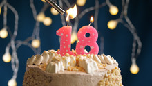 Birthday Cake With 18 Number C...
