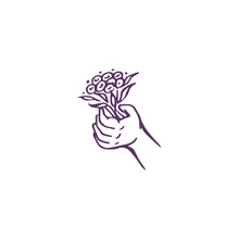 Hand Drawn Palm With Flower Is...