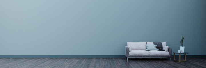 Interior of living room w sofaand coffee table panorama 3d rendering