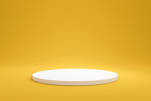 White Podium Shelf Or Empty Pedestal Display On Vivid Yellow Summer Background With Minimal Style. Blank Stand For Showing Product. 3D Rendering.