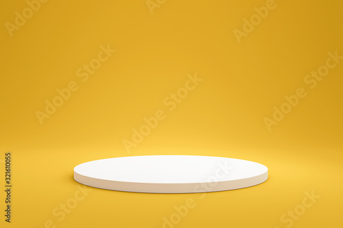 White podium shelf or empty pedestal display on vivid yellow summer background with minimal style Canvas Print