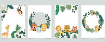 Green Collection Of Jungle Frame Set With Leaf,leaves,leopard,lion,giraffe Vector Illustration For Birthday Invitation,postcard,logo And Sticker