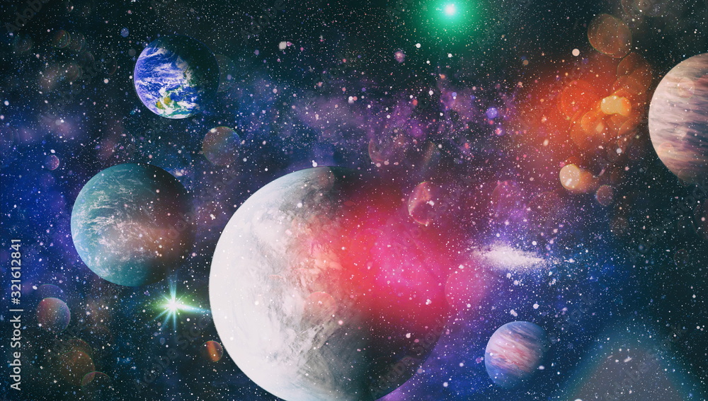Earth planet in galaxy use for science design . Earth and galaxies in space. Science fiction art. Elements of this image furnished by NASA.