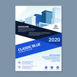 Classic Blue Flyer template design With Abstract geometric vector , Simple, modern and trendy Design