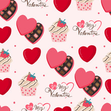 Cute Valentine Background With...
