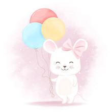 Cute Baby Mouse With Balloon Hand Drawn Cartoon Illustration