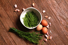 Egg And Acacia Pennata For Omelet Cooking, Thai Cuisine - Calls That Cha-om Omelet