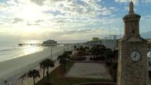 Daytona Beach Clock At Sunset Aerial Drone