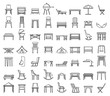 Outdoor garden furniture icons set. Outline set of outdoor garden furniture vector icons for web design isolated on white background
