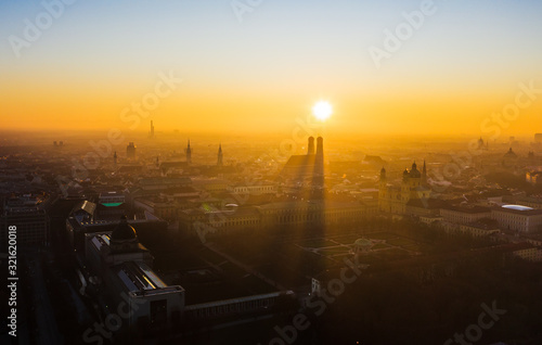 Fototapeta Munich from above during sunset