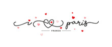 I Love Paris Handwritten Typography Lettering Line Heart Red Pink Hearts White Banner