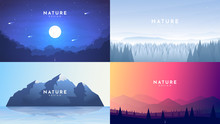 Set Of 4 Nature Backgrounds. M...