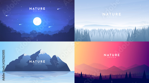 Obraz Set of 4 nature backgrounds. Misty night with moon light, winter forest, morning scene, mountain with reflection in water, colorful sky and polygonal hills. Vector flat landscape. Website template - fototapety do salonu
