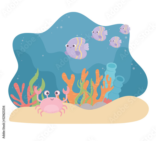 Obraz crab fishes life sand coral reef cartoon under the sea - fototapety do salonu