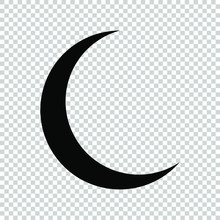 Crescent Moon Icon Flat Vector...