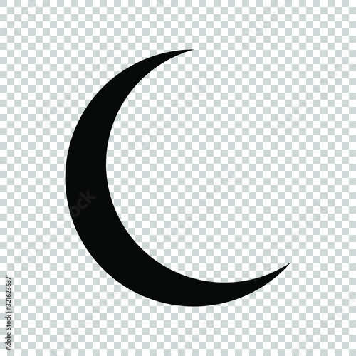 crescent moon icon flat vector on transparent background Fotobehang