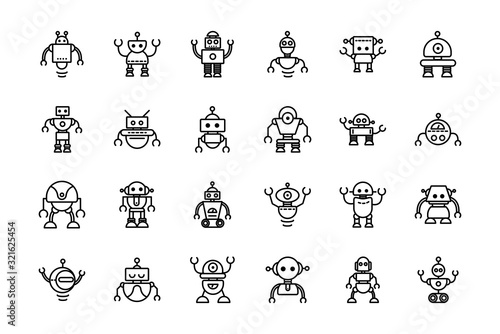 Foto robot technology character artificial machine icons set linear