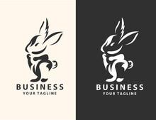 Black And White Rabbit Logo De...