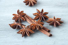 Cinnamon Sticks And Star Anise Close-up On A Wooden Background. Selective Focus.