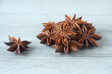 Star Anise Close-up On A Wooden Background. Selective Focus.