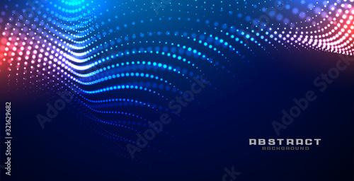 Obraz technology glowing wave mesh particles background design - fototapety do salonu