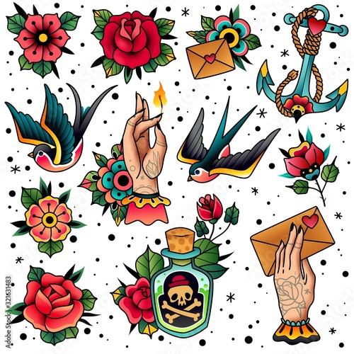 Old school traditional tattoo set Wall mural